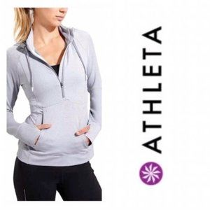 Athleta Striped Hoodie Pull Over Sweater